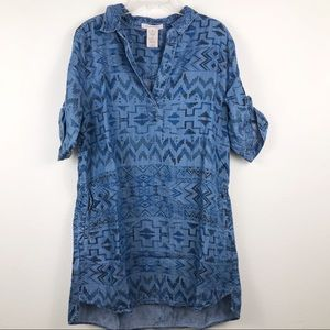 Philosophy Chambray Aztec Printed Shirt Dress XL